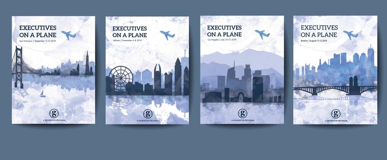 Gener8or Brochure Mock up Executives on a Plane