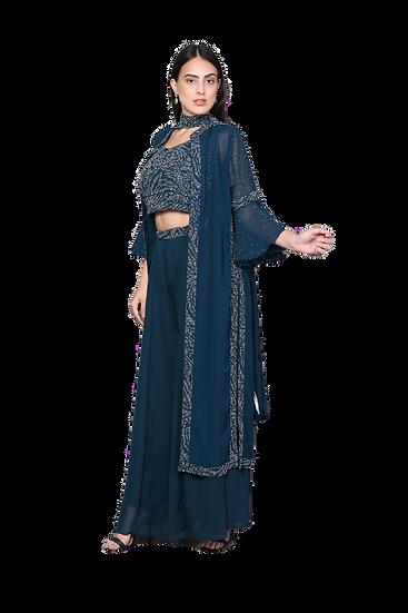 Sharara Pants with Crop Top with Jacket