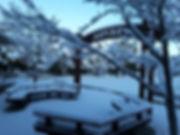 Snowy Benches at Spyrock Elementary School