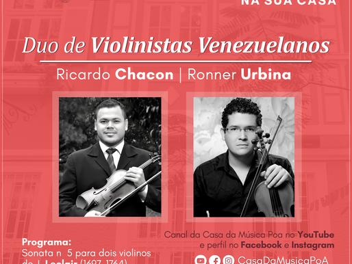 CASA DA MÚSICA NA SUA CASA apresenta duo de Violinistas Venezuelanos