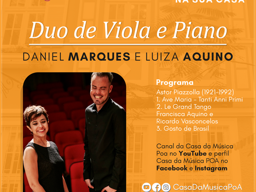 CASA DA MÚSICA NA SUA CASA promove estreia de duo de viola e piano