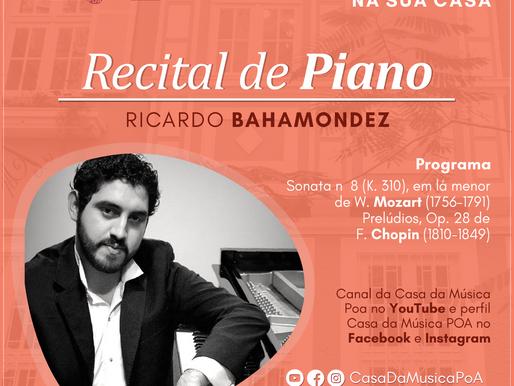 CASA DA MÚSICA NA SUA CASA recebe o pianista chileno Ricardo Bahamondez Torres