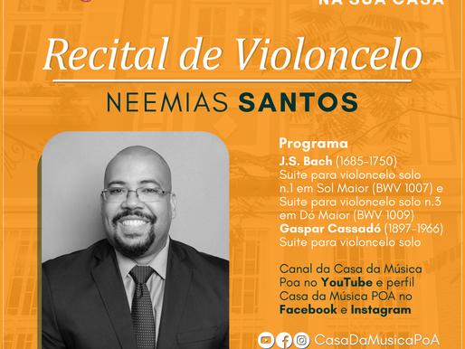 CASA DA MÚSICA NA SUA CASA promove recital de violoncelo com Neemias Santos