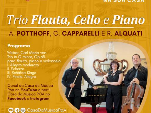 CASA DA MÚSICA NA SUA CASA apresenta recital com Trio de Flauta, Cello e Piano