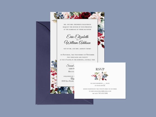E & W Wedding Invitation Suite