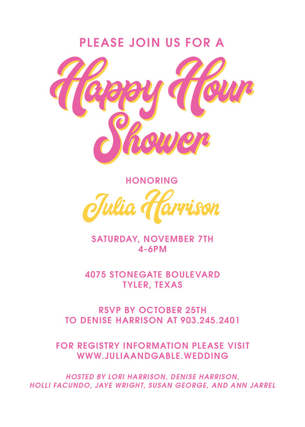 Happy Hour Bridal Shower Front