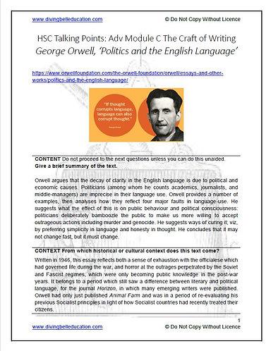 HSC Mod C: Ways Into - Orwell 'Politics & the English Language' TEACHER'S COPY
