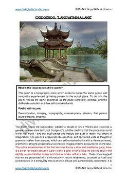 Close reading notes: analysis of Oodgeroo - 'Lake within a lake'