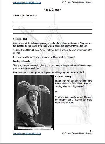King Lear: Act and Scene Activities