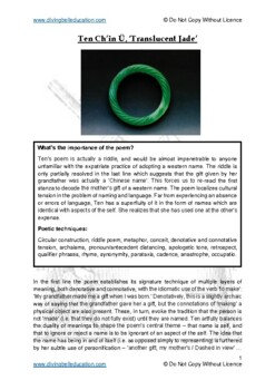 Close reading notes: Maureen Ten 'Translucent Jade'