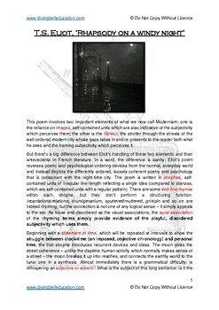 Study Guide: T.S. Eliot - Rhapsody on a Windy Night