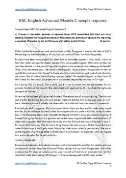 HSC Advanced English The Craft of Writing - Sample Paper response Henry IV Pt 1
