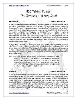 Talking Points - HSC Advanced Mod A: Tempest/Hag-Seed