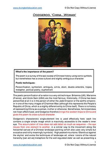 Close reading notes: analysis of Oodgeroo - 'China...Woman'