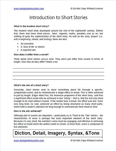 Introduction to Short Stories handout