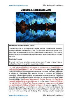Close reading notes: analysis of Oodgeroo - 'Reed Flute Cave'