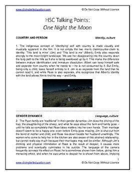 Talking Points - HSC Standard Mod A: One Night the Moon