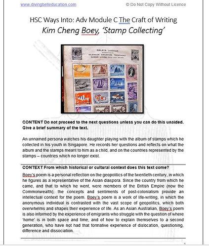 HSC Mod C: Ways Into - Boey, 'Stamp Collecting' TEACHER'S COPY
