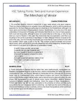 Talking Points - HSC Common Module: Merchant of Venice