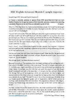 HSC Advanced English The Craft of Writing - Sample response The Awakening