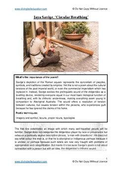 Close reading notes: analysis of Jaya Savige, 'Circular Breathing'