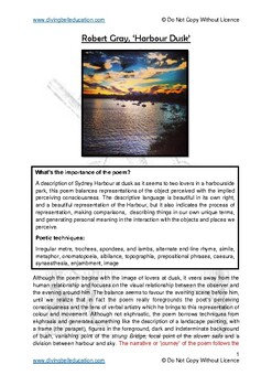 Close reading notes: RobertGray 'Harbour Dusk'