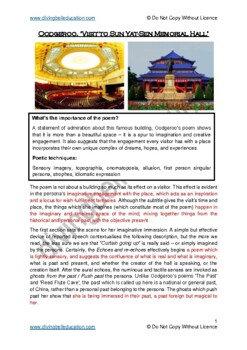 Close reading notes: analysis of Oodgeroo - 'Visit to the Sun Yat-Sen Memorial'