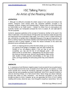 Talking Points - HSC Advanced Mod B: Artist of the Floating World