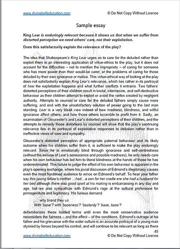King Lear: Essay questions and sample essay