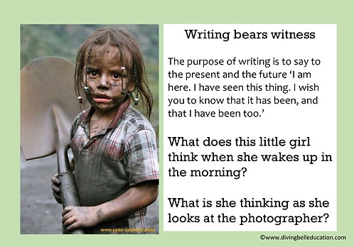 Creative Writing Prompt Card - Writing bears witness
