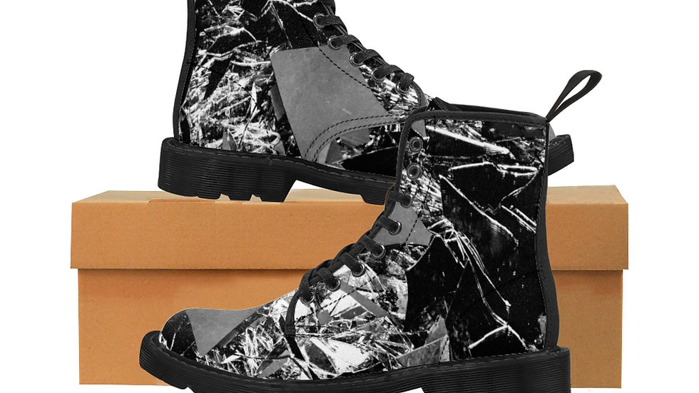 Boy Breaking Glass Men's Canvas Boots