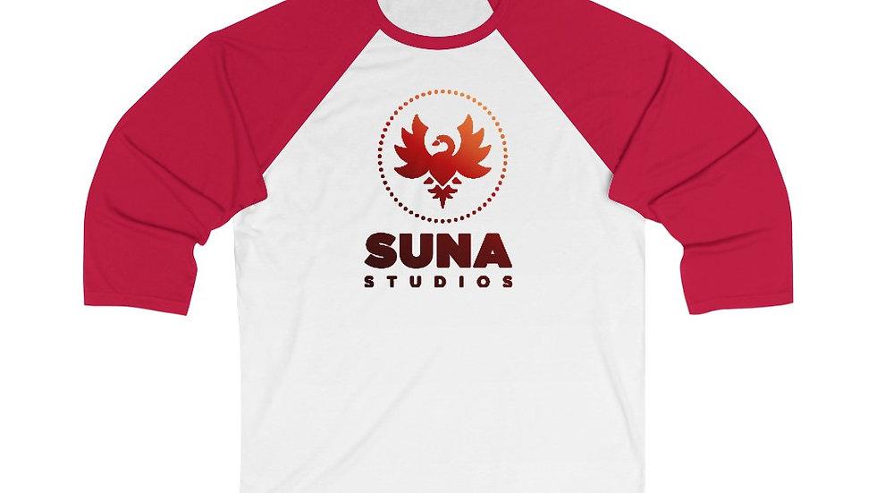 Suna Red Unisex 3/4 Sleeve Baseball Tee