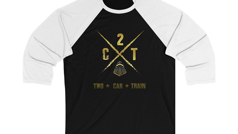 Two Car Train Unisex 3/4 Sleeve Baseball Tee