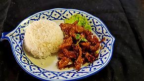 A608 -Deep fried garlic pork with Rice.j