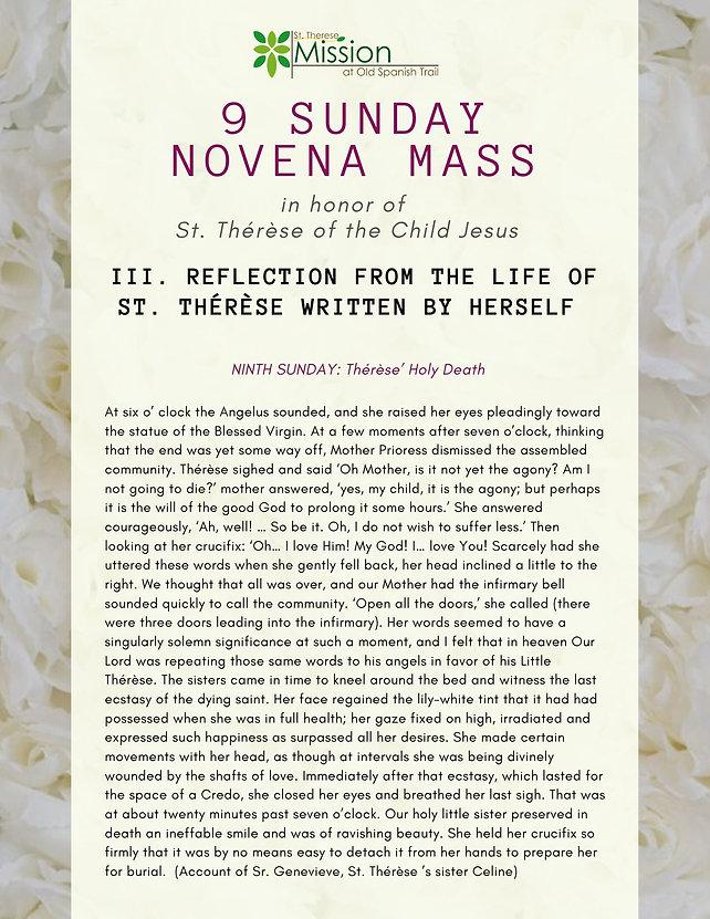 9 Sunday Novena - III. Reflections (9th