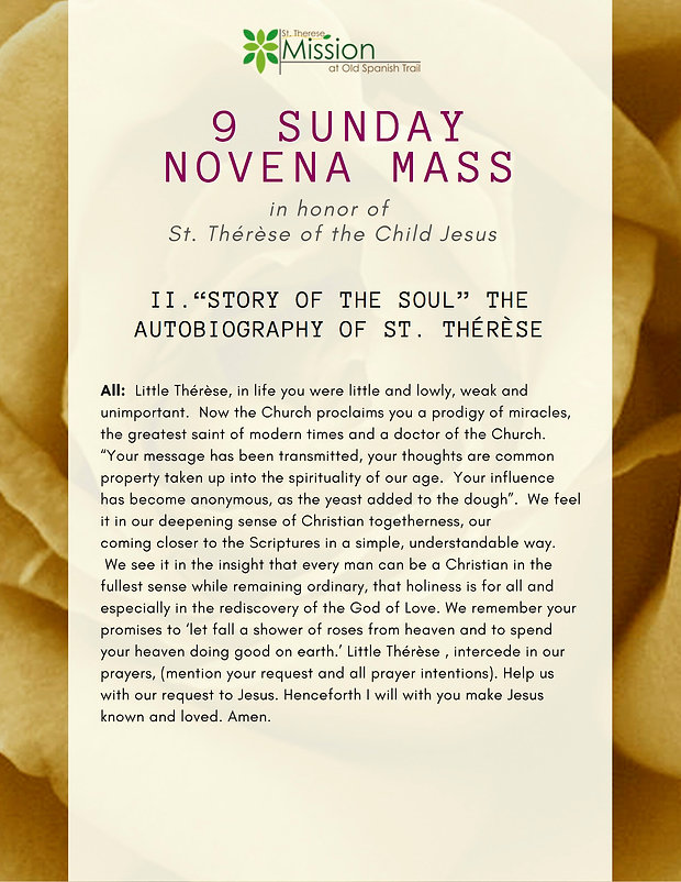 9 Sunday Novena - II. Story of the Soul.