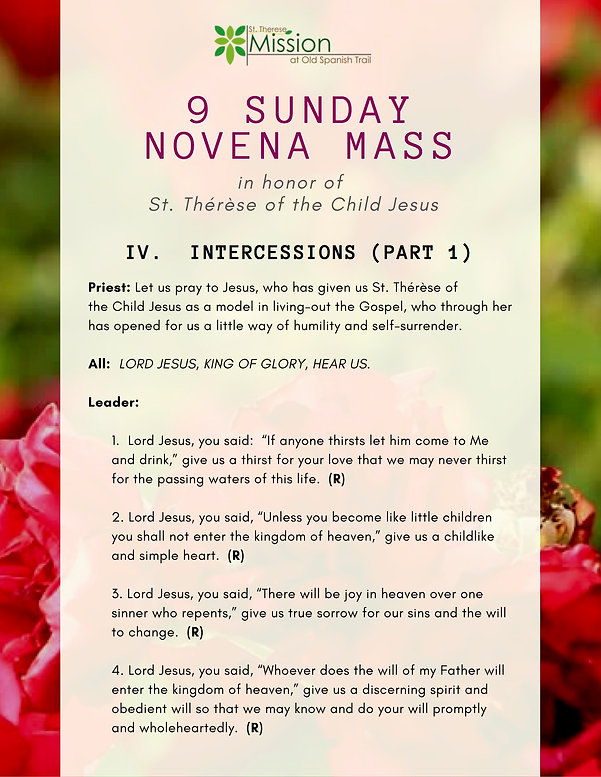 9 Sunday Novena - IV. Intercessions part