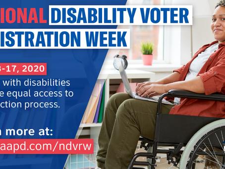National Disability Voter Registration Week July 13-17 2020