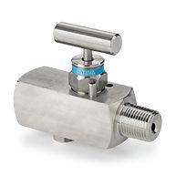 Gauge valve with bleed plug 106 one way