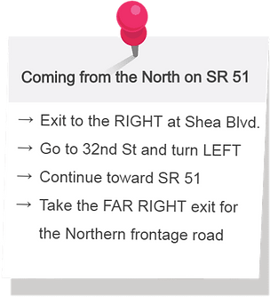 Directions for coming from the North on State Route 51. Exit to the Right (WEST) at Shea Boulevard. Go to 32nd St and turn Left (SOUTH). Continue toward State Route 51. Take the Far right exit for the Northern frontage road.