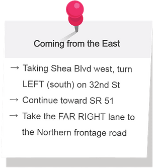 Directions to the office when coming from the east. Taking Shea boulevard west, turn left (south) on 32nd street. Continue toward state route 51. Take the far right lane to the Northern frontage road.