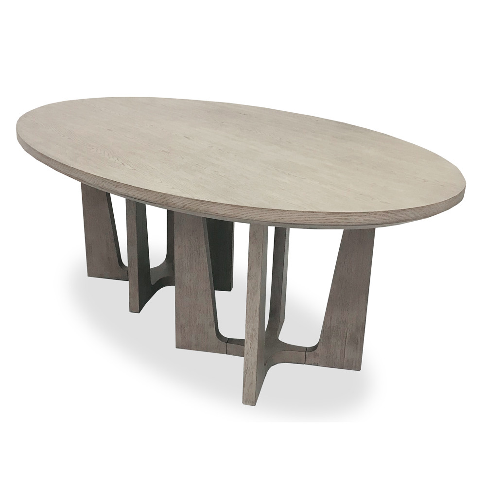 Double Pedestal Oval Dining Table Moonstone Gray