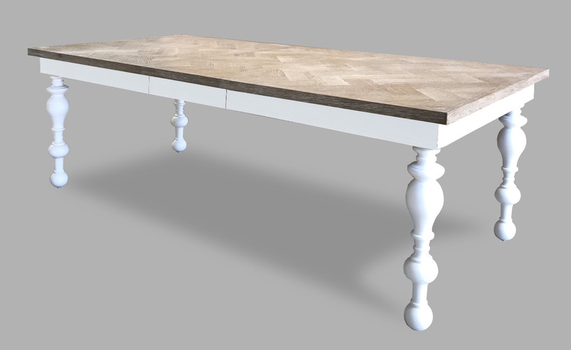 Herringbone Top Dining Table