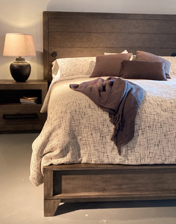 Wood Panel Bed with USB