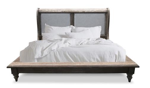 Linen Sleigh Bed