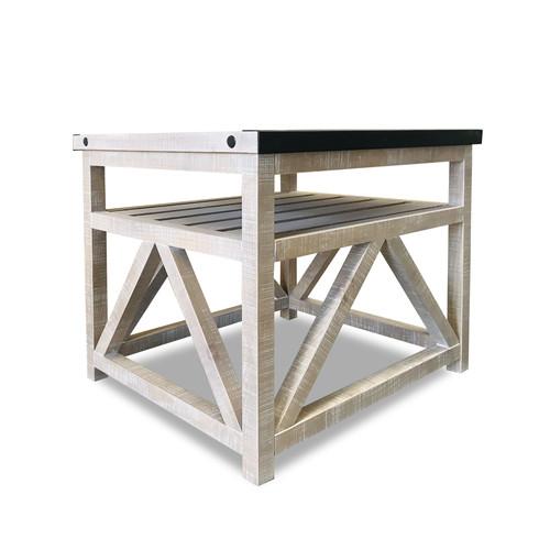 Herringbone Top Lamp Table