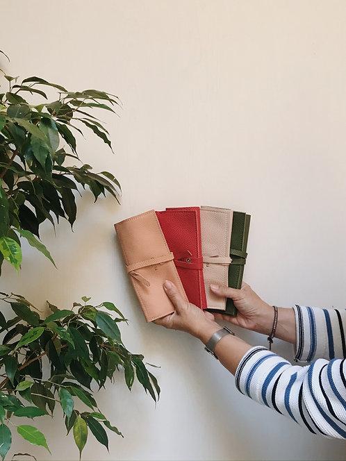 Portagioie a portafoglio in pelle