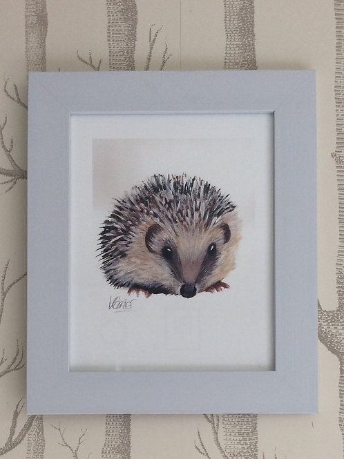 British Hedgehog Giclee Art Print Signed & Framed