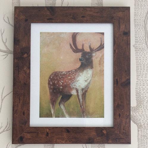 Fallow Deer Stag Giclee Art Print Signed Framed