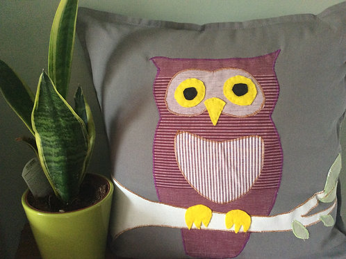 Owl Applique Cushion and cover